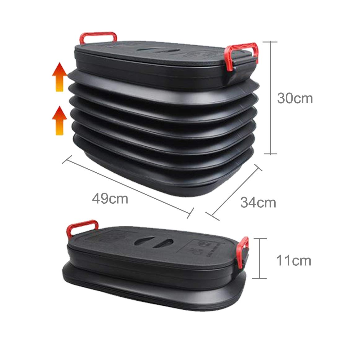 YKDY 37L Car Collapsible Plastic Organizer Bin with Lid for Camping and Outdoor