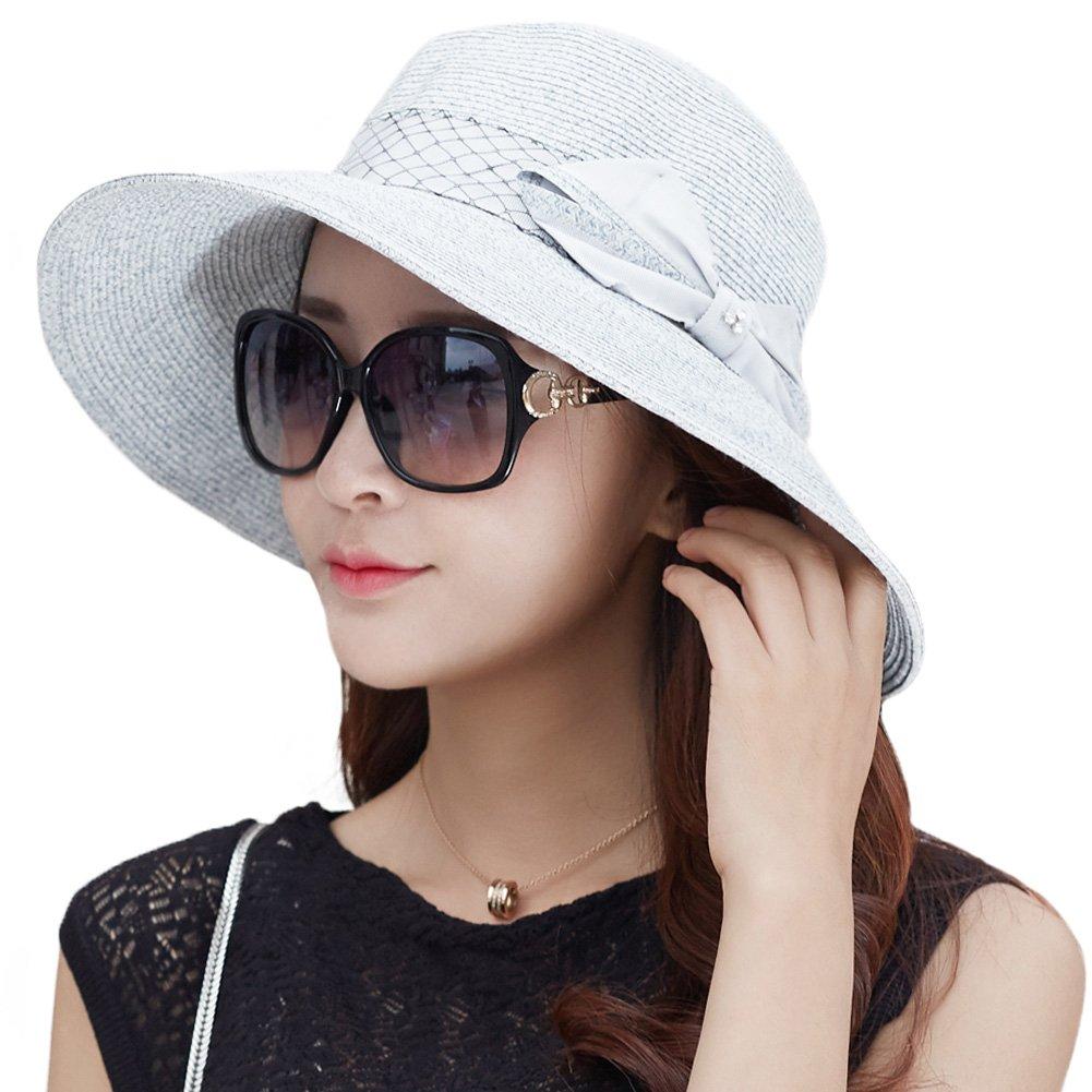 14134b2d97e Galleon - Siggi Womens Floppy Summer Sun Beach Straw Hats UPF Packable  Bucket Cloche Hat 56-59cm LightBlue