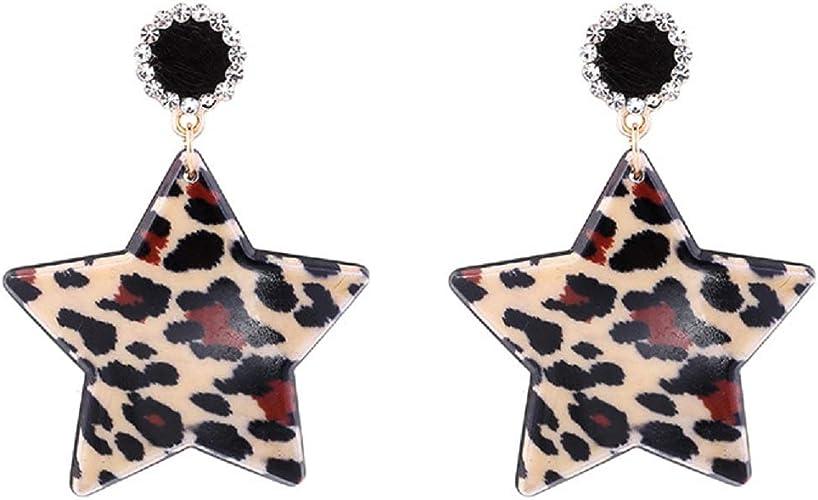 KPOWIN Colorful Hoop Star Earrings Geometric Hoop Earrings Bright Fluorescence Star Hoop earings for Women Girls