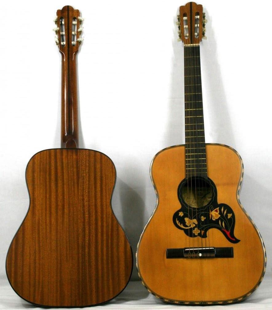 Musikalia Guitarra Classic Mod. Camping con Ricco INTARSIO floreale y mosaico, Vintage, de liuteria–Hecha Entre El 1970y el 1990