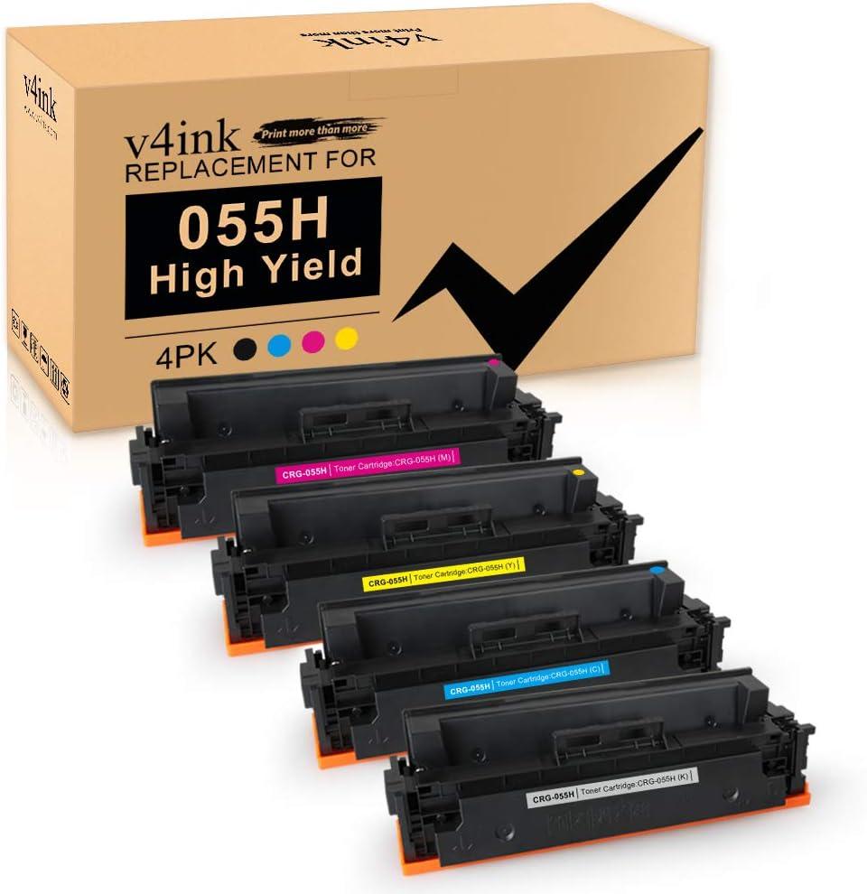 V4ink Kompatible Tonerkartusche Für Canon 055 055h Crg 055h Hohe Ergiebigkeit Für Canon Imageclass Mf740c Mf741cdw Mf743cdw Mf745cdw Mf746cdw Lbp660c Drucker 4 Packungen Bürobedarf Schreibwaren
