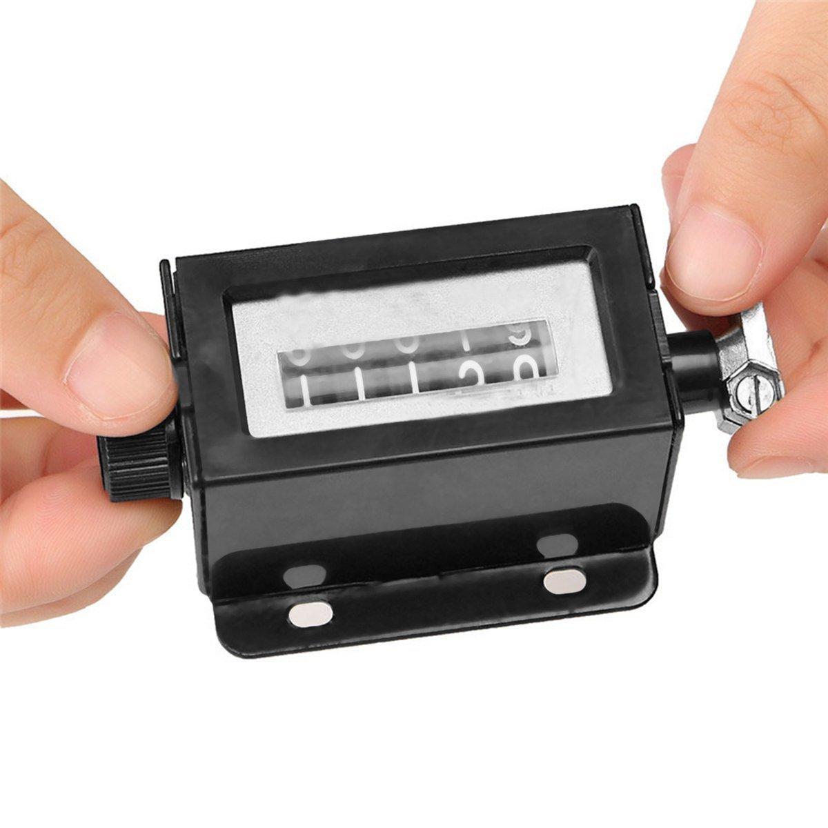 Gugutogo Reposicionable 5 Dígitos Mecánico Tire Contador de Trayecto Mecánico Manual de Recuento Manual Trazo Haga Clic en Contador Contador Montaje D67-F (Color: Negro)