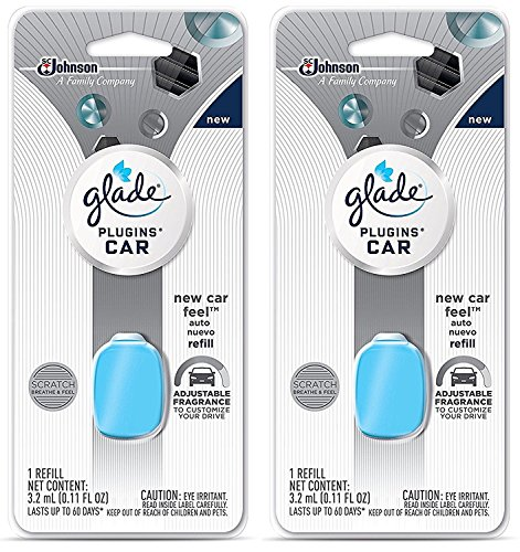 Glade Plugins Car Refill - New Car Feel - Net Wt. 3.2 mL (0.11 FL OZ) Per Refill - Pack of 2 Refills