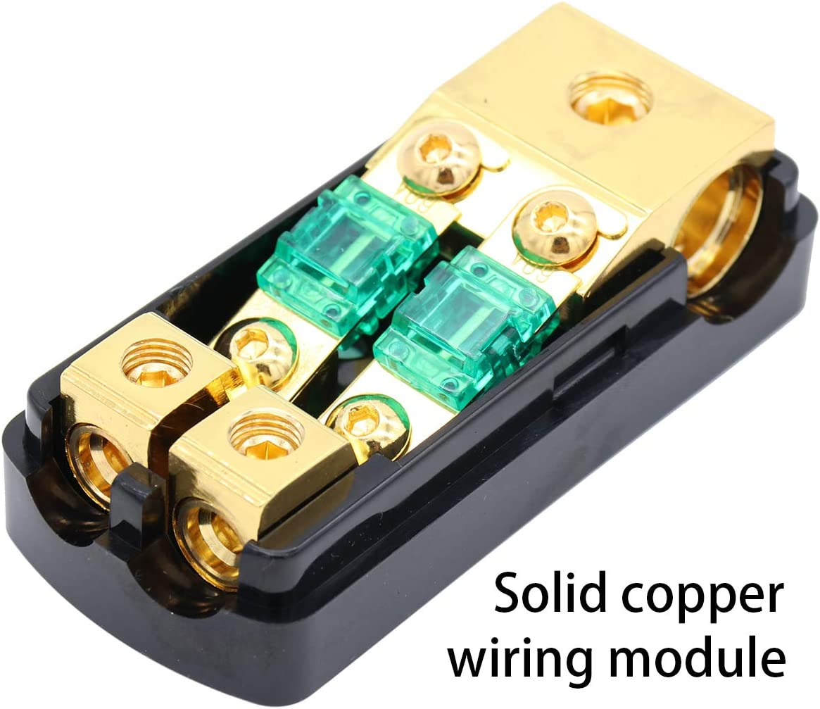 Magicsource in-line MANL Fuse Holder 4 Gange AWG Input 4//8 Gange AWG Output Copper High Conductive Finish with 60A Mini Fuse 1-Way