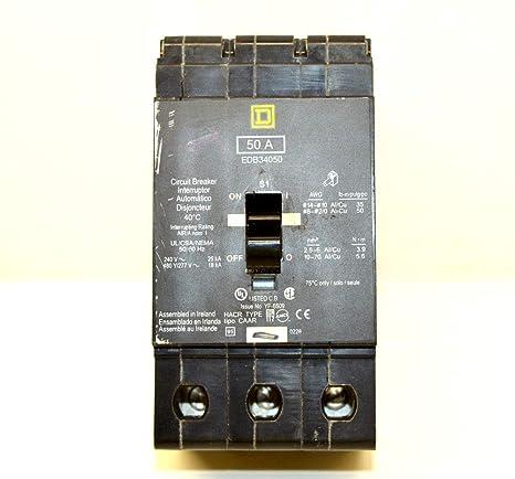 Square D interruptor de circuito, 50 A, 3 polos, edb34050: Amazon ...