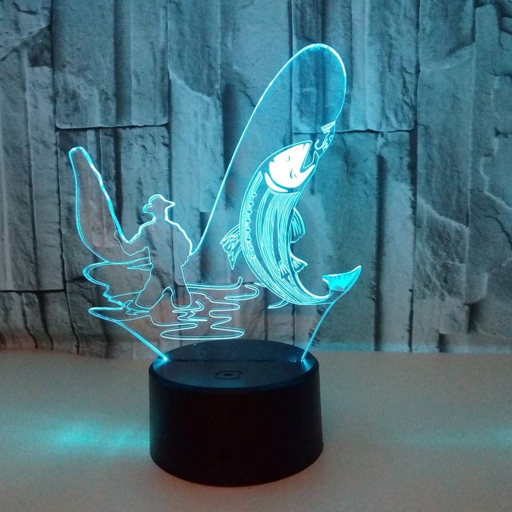 Fishing 3D Effect Lamp Optical LED Illusion Lamps Desk Table Night Light Hand Model Glow Lamps 7 Color Change for Children Home Decoration Birthday Gift