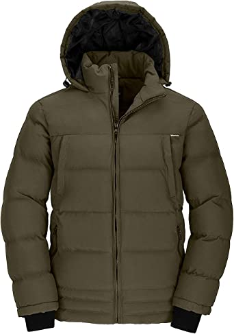 Wantdo Men's Warm Puffer Jacket Thicken Padded Winter Coat with Detachable Hood
