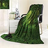 Digital Printing Blanket Deep Tropical Trees Foliage Woodland Asian Himalayas Meditation Green Summer Quilt Comforter