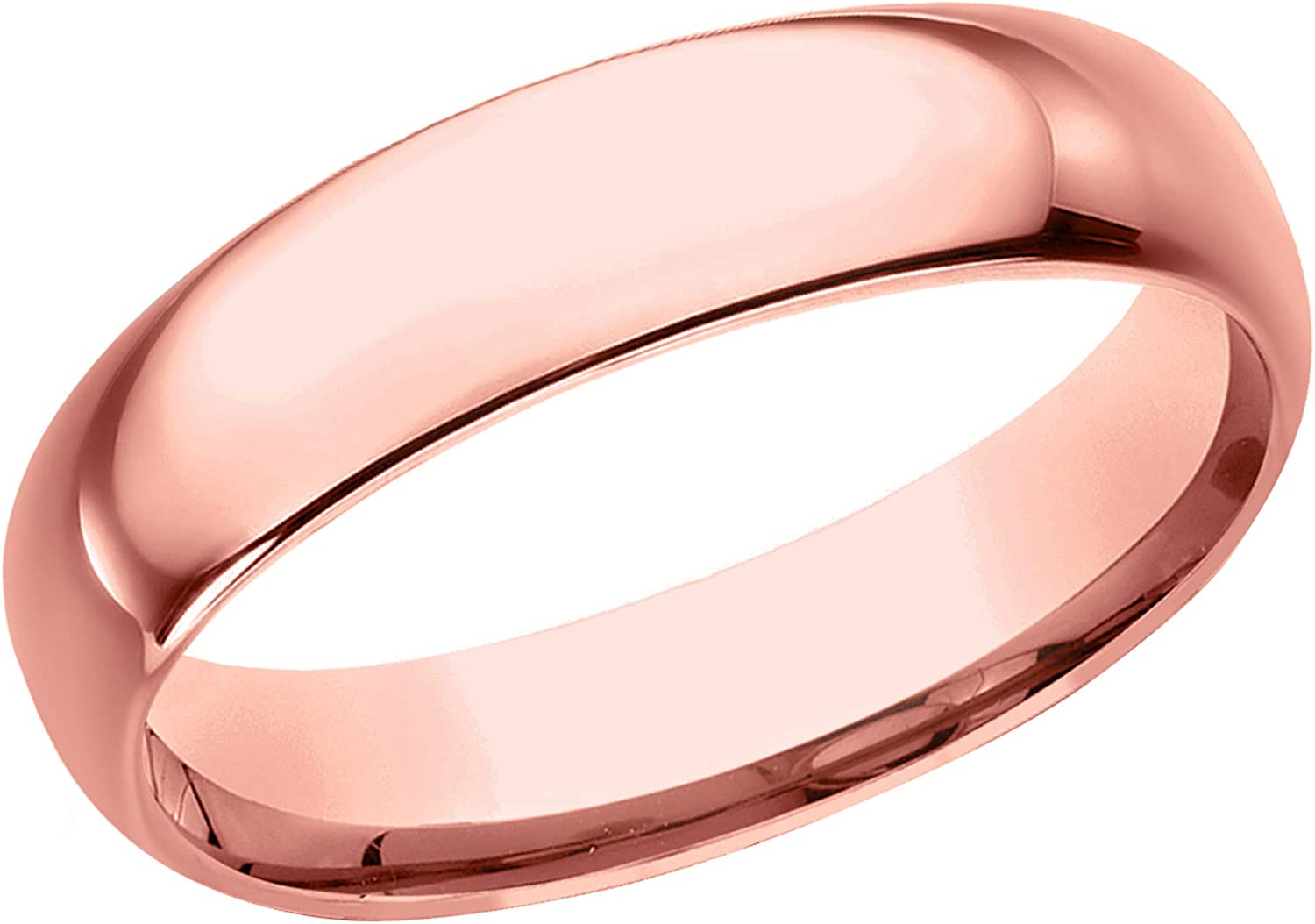 Prism Jewel 5.30mm D Shape Unisex Plain Stackable Wedding Band Crafted In 10k Gold
