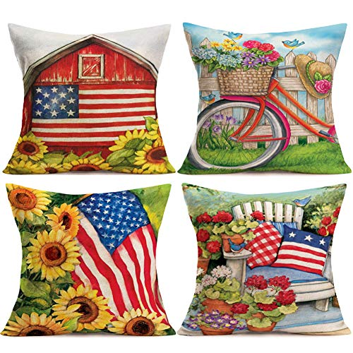 YANGYULU Pillow Covers Garden Sunflowers Blooming Flowers Decorative Cotton Linen Patriotic American Flag Cotton Linen Pillow Case Decor Independence Day Gift for Home 18
