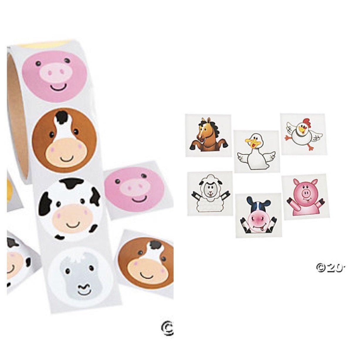 344 pce. Adorable Farm Party Favors/200 FARM ANIMAL Face STICKERS & 144 Farm Animal TATTOOS - COWS Pigs DUCKS - Daycare - DOCTOR - Classroom - Teachers