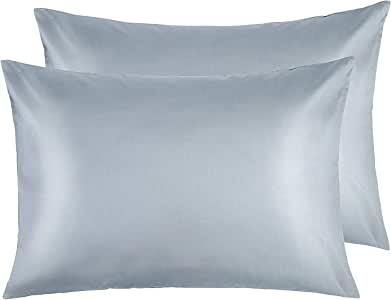 NTBAY Zippered Satin Pillowcases, Super Soft and Luxury Standard Pillow Cases Set of 2, 20 x 26 Inches, Grey
