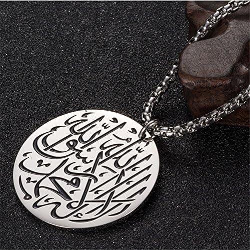 PAURO Homme Acier Inoxydable Dieu Allah Islam Musulman Charme Rond Collier Pendentif avec Cha/îne DE 24 Pouces