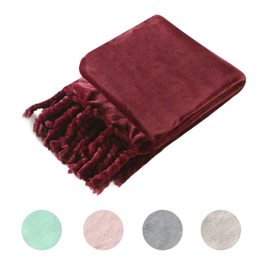 Homiest Luxury Flannel Fleece Throw Blanket for Couch Sofa Lightweight Soft & Cozy Velvet Throw Blanket with Fringe (50 x 60,Burgundy) by Homiest
