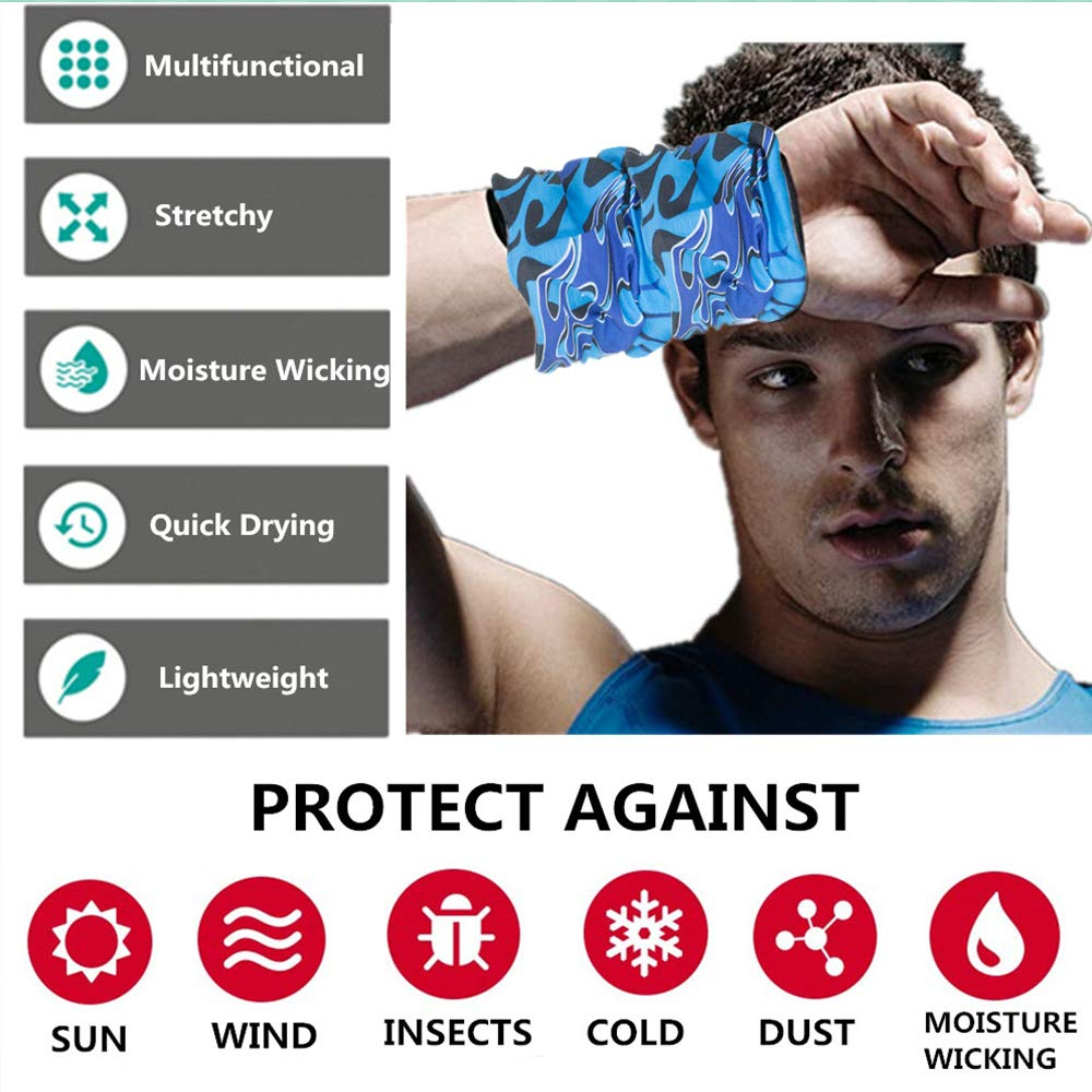 Neckwarmer or More Multifunctional for Music Festivals Featy 4PCS Windproof Seamless Face Mask Bandanas Cycling Headwrap Raves Riding Scarf Headband Outdoors