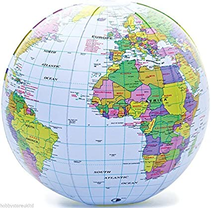 Globe Map Pictures.Amazon Com Inflatable Globe Blow Up Globe World Map Atlas Ball
