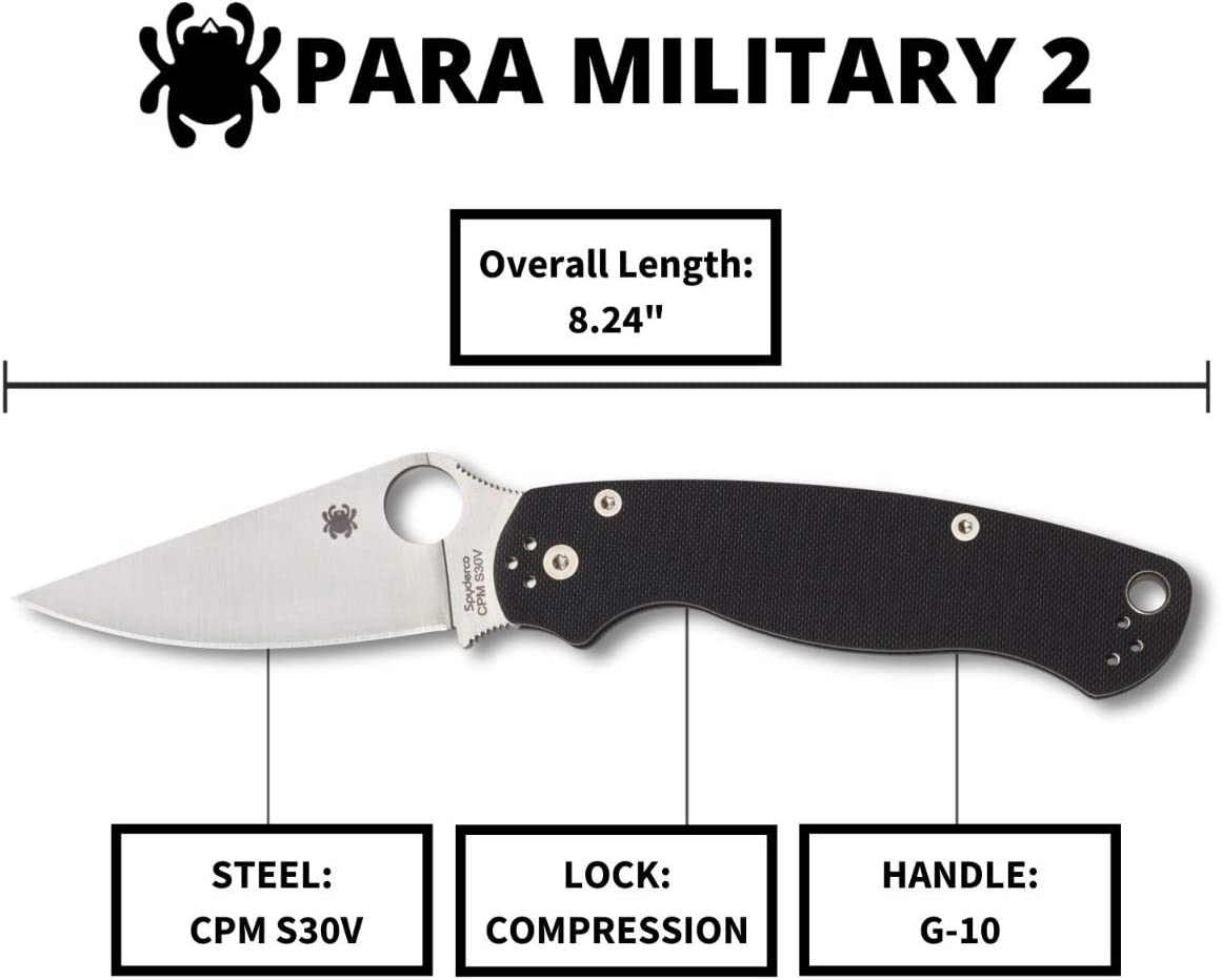 "Spyderco para Military 2 Signature Knife with 3.42"" CPM S30V Steel Blade"