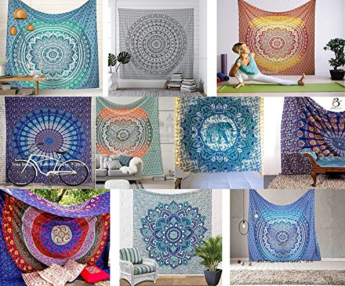 Aakriti Gallery Assorted Mix lot Tapestry Queen Hippie Flower Beautiful Artwork Wall Decor Mandala Beach Bedspread Intricate Indian Bedspread Tapestries 92x82 Inches (Lot of 10)