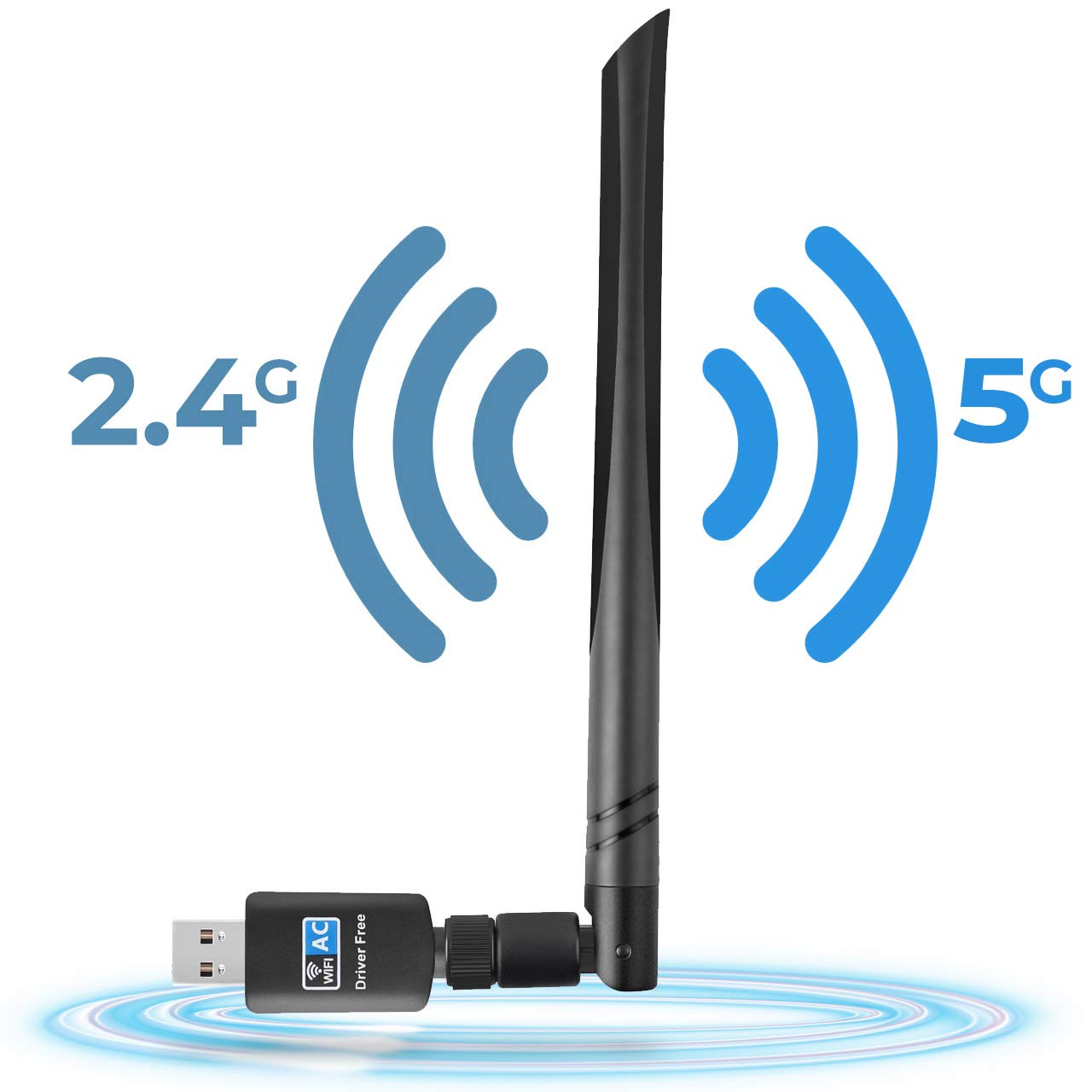 Wireless Network Adapter 802.11ac USB WiFi Adapter 600Mbps Dual Band 2.4GHz and 5.8GHz Compatible with Windows 10/8/7/Vista/XP Mac OS, No CD Network Card Wireless Network WiFi Dongle with 5dBi Antenna by Tauracle