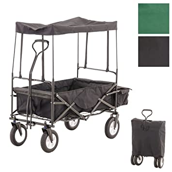 CLP Carrito Plegable RUDI, Carro de Transporte con neumáticos Anchos, Completo con tejado, Bolsa Trasera y Bolsa de Transporte Negro: Amazon.es: Hogar