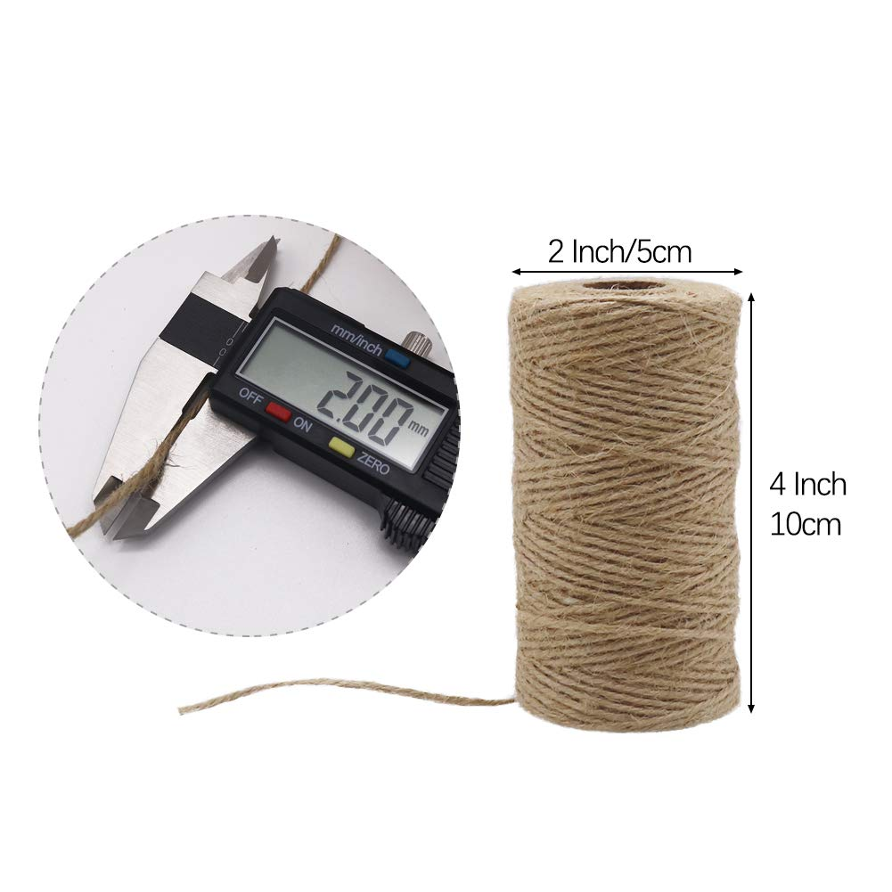 1000 Feet Natural Jute Twine String, Tenn Well 3Ply 2mm Arts and Crafts Twine for Gift Wrapping, Picture Display, Wedding Invitations, Packaging (3pcs x 335 Feet) by Tenn Well (Image #4)