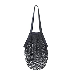 AmyDong Storage Box, Long Convenient Shopping Bags Reusable Fruit String Grocery Shopper Cotton Tote Mesh Woven Net Shoulder Bag (Black)
