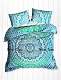 Malwa Exclusive Mandala Duvet Cover With Two Pillow Covers , Indian Duvet Quilt Cover Coverlet Bohemian Doona Cover , Blanket Cover Throw Queen Size (Green)