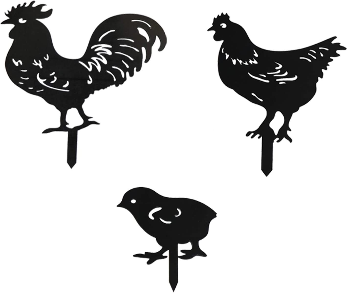 3 Pcs Upgrade Chicken Garden Country Decor for Outside Hen and Rooster Silhouette Ornament for The Home Yard Art Stakes Decorations Outdoor Black Hollow Out Animal Shape for Lawns Backyards