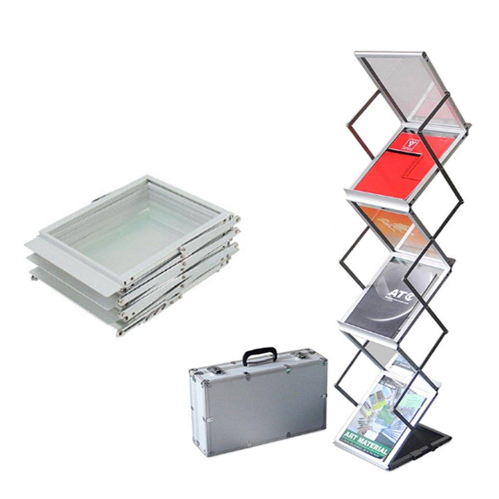 Yosoo Espositore per brochure, Racks pieghevoli Espositore per formato A4,Porta brochure , con 6 scomparti e valigetta per il trasporto,per mostre, fiere, eventi letterari