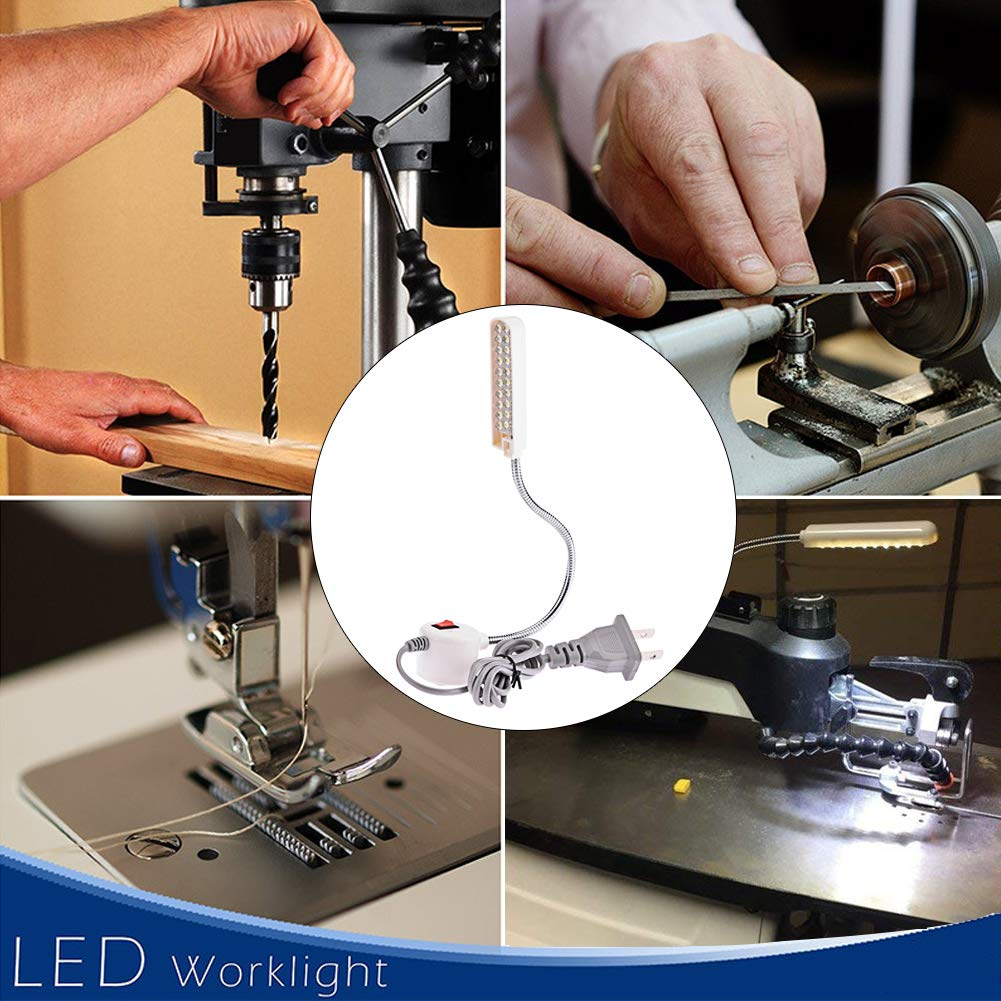 HONG111 LED Sewing Machine Light (30LEDs - 2 Watt), Flexible Work Light Gooseneck Lamp with Magnetic Mounting Base for Lathes, Workbenches, Drill Press, Music Stands, Crafts