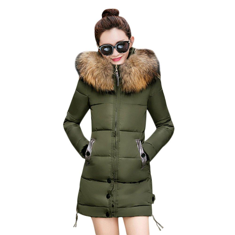 66bbb341b13ef Amazon.com: Rela Bota Women's Winter Warm Down Coat Faux Fur Hooded Parka Puffer  Jacket Long Overcoat: Clothing