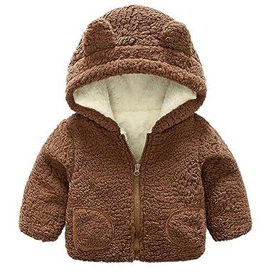 Baby M/ädchen Winterjacke Mantel Kleinkinder Dicke Warme S/ü/ß B/är Fleecejacke Kapuzenmantel Winter Bekleidung