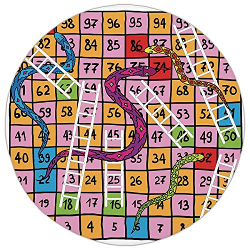 Round Area Rug Mat Rug,Board Game,Snakes with Ornate Details White Ladders Hand Drawn Squares Numbers Luck Move,Multicolor,Home Decor Mat with Non Slip - Set Ladder Detail