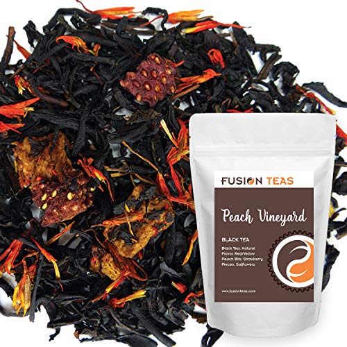 Vineyards Nectar - Peach Strawberry Vineyard Black Tea - Premium Loose Leaf Tea - Gourmet Hot or Iced Fruit Flavored Dessert Tea - 5 oz Pouch