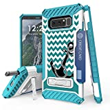 Galaxy Note 8 Case, Trishield Durable Shockproof High Impact Rugged Armor Phone Cover With Detachable Lanyard Loop Card Slot Built In Kickstand For Note 8 - Black Anchor/Chevron