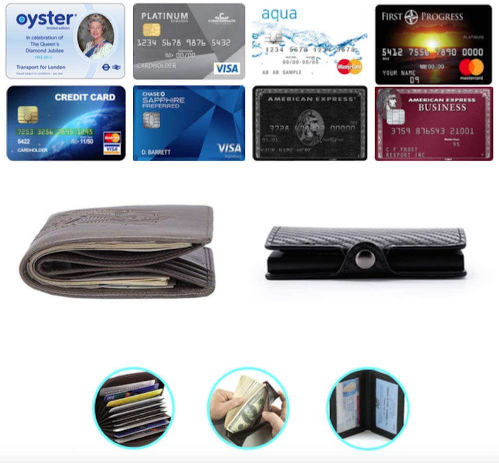 Credit Card Storage Automatic Pop-up Stylish Removable Money clip// NFC Blocking Oyster Holder Reliable RFID Card Wallet Interior Pocket Travel Pass Fraud Prevention Lightweight