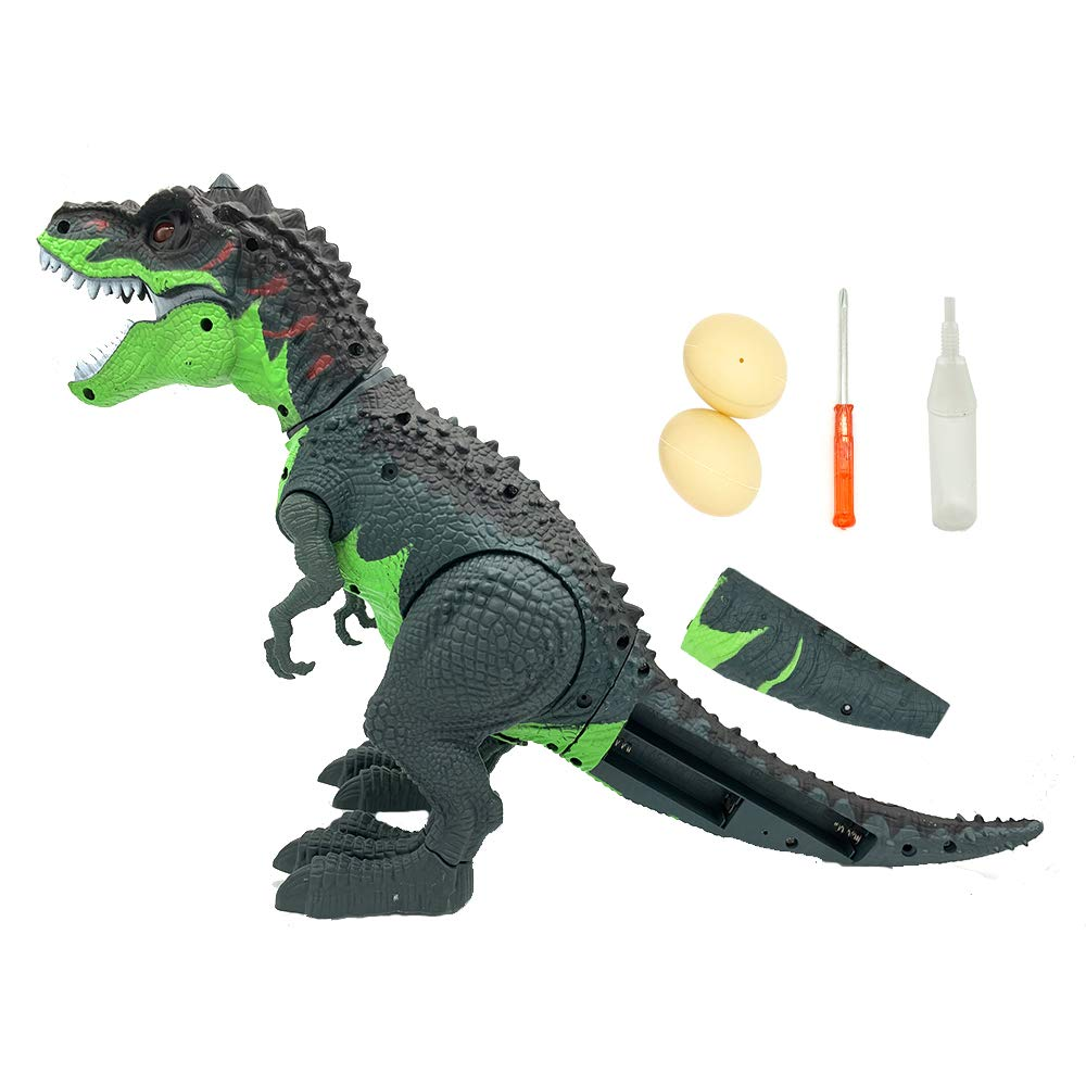 SEOINS T-Rex Walking Dinosaur Toy with Spray Water Mist,Realistic Roar and Ligh,Dinosaur Toy for Kids(Green) by SEOINS (Image #4)