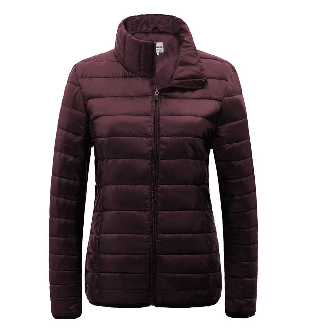 SUNDAY ROSE Womens Packable Jacket Lightweight Puffer Quilted Coat (S, Burgundy)