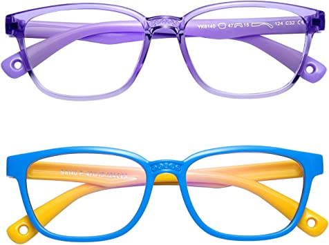 Silicone Flexible Computer//Gaming//Reading Safety Eyeglasses for Girls Boys Age 3-12 Blue Light Blocking Glasses for Kids