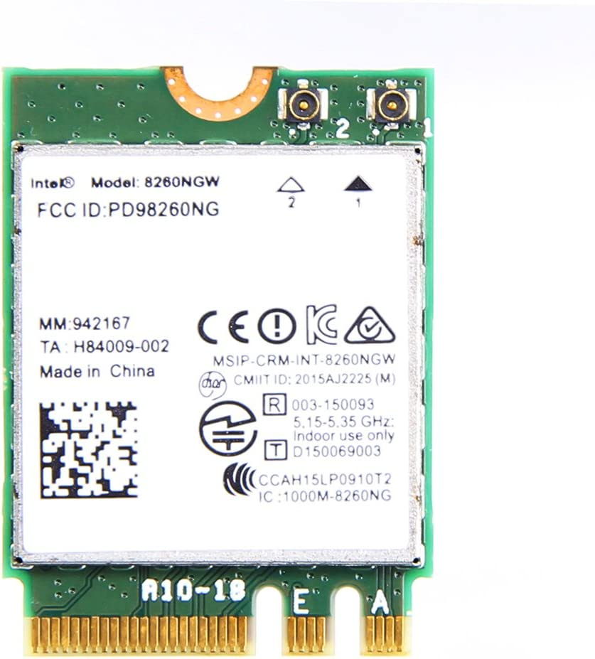 Tarjeta de Red InalÁMbrica Intel Dual Band Wireless-Ac 8260 (8260Ngw) Ngff, 867&Nbsp;Mbps, 2,4/5&Nbsp;Ghz, 802.11&Nbsp;A/B/G/N/Ac, Bluetooth 4.2