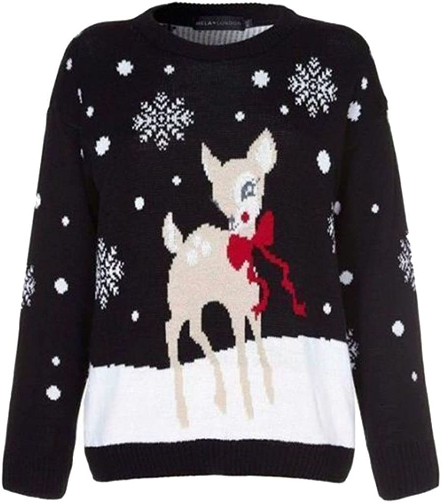 Funky Fashion Shop New Kids Boys Girls Unisex Xmas Rudolph Reindeer Snowflakes Bambi Christmas Jumpers 3-13Years