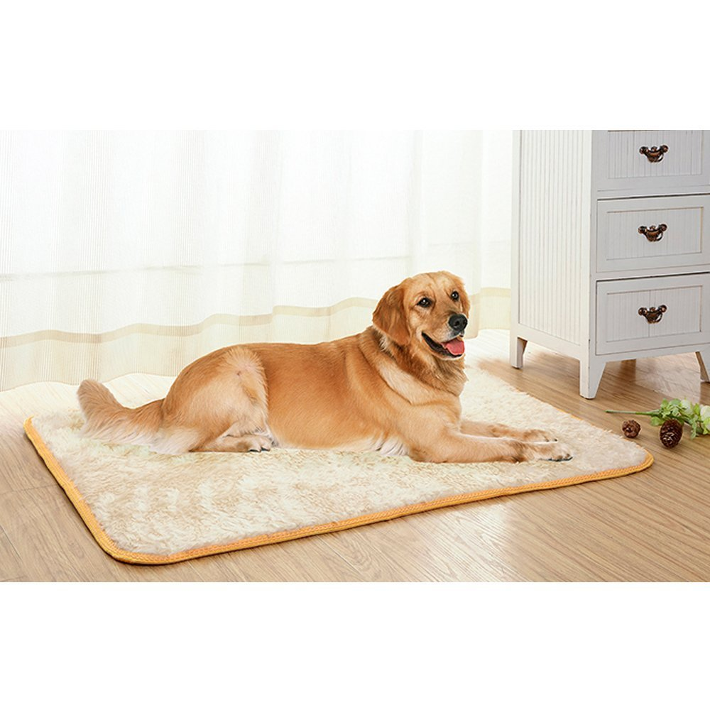 Xanday Pet Mat, Waterproof Carpet, Pet Bed Cushion Mat for Dog and Cats, Fluey Warm Kennel, Soft Man-made plush and PP Cotton (L(27'' x 39''))
