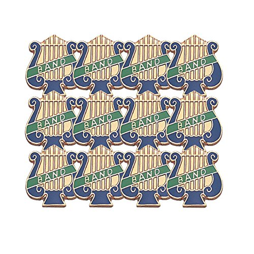 1 Inch Band Music Lyre Lapel Pin - Package of 12, Poly Bagged