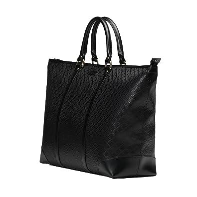5ca0f74b5f5bbd Amazon.com: Gucci Diamante Leather Medium Zip Top Unisex Tote Bag 309413  Black: Shoes