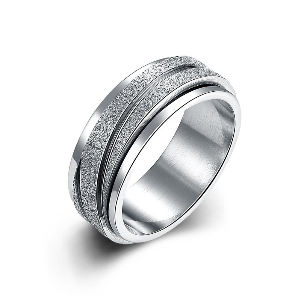 SAINTHERO Mens Wedding Bands 8MM 316L Titanium Stainless Steel Scrub Promise Rings Beveled Edge High Polished Finish Comfort Fit Size 9