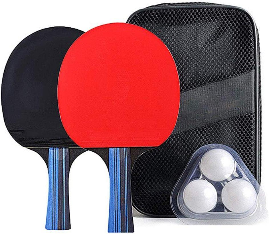 UNIIKE Paleta de Ping Pong Mesa de Ping Pong Entrenamiento avanzado de la Raqueta, la Hoja de Madera rodeada de Goma para Obtener Excelentes Efectos Equilibrio, Control de Velocidad, Paquete de 2