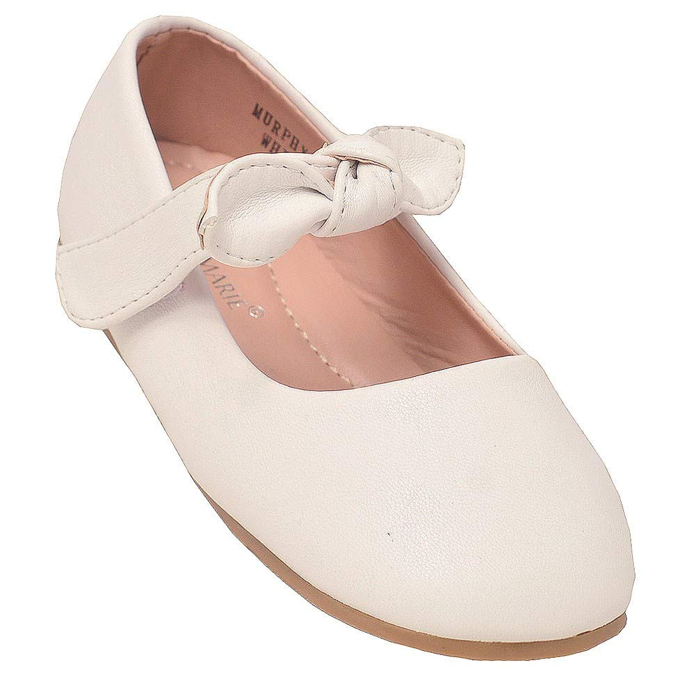 Anne Marie Girls White Tie Accent Hook-And-Loop Mary Jane Shoes 4 Baby