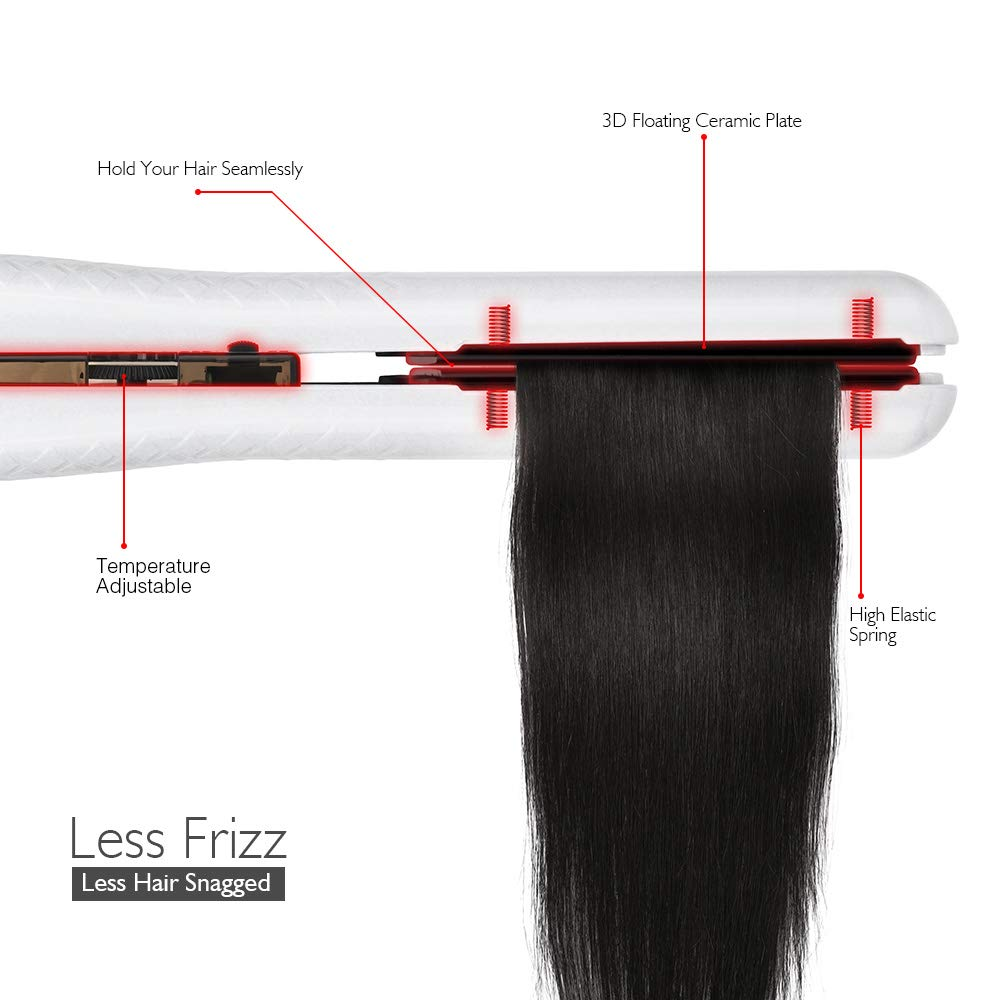 Ceramic Flat Iron for Hair, Professional 1 Inch Hair Straightener Dual Voltage - White