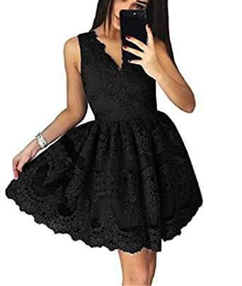 LeoGirl Womens Floral Lace V-Neck Short Homecoming Party Dresses Junior  Sweet Semi-Formal 9363ead4f