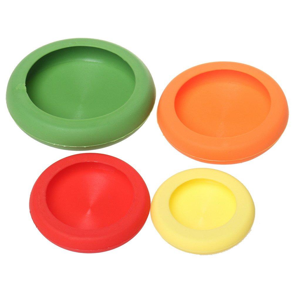 SUMAJU Contenitori flessibili in silicone per cibo, salva freschezza riutilizzabili per frutta, verdura, coperchio per barattolo di latta, set di 4 pezzi Multi